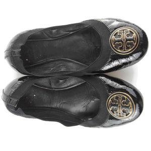 TORY BURCH Reva Black Patent Ballet Flats Size 7